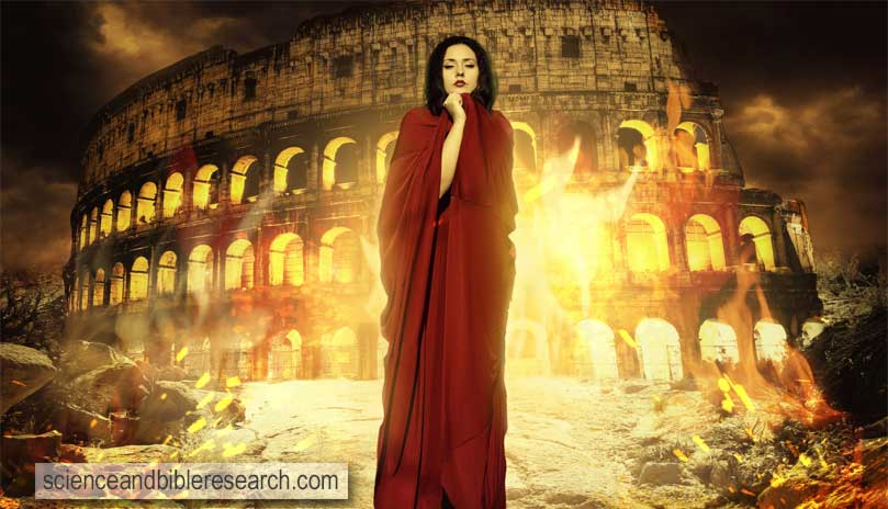 Beautiful woman in fire, priestess praying to god, Rome, fantasy woman (Photo by photo287)