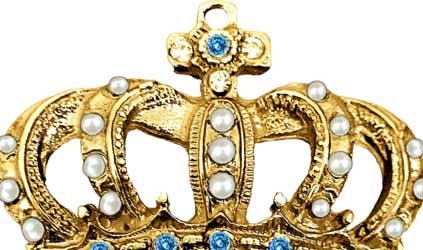 Gold crown with stone vintage ornate blue stone king (Photo by kadirgul)