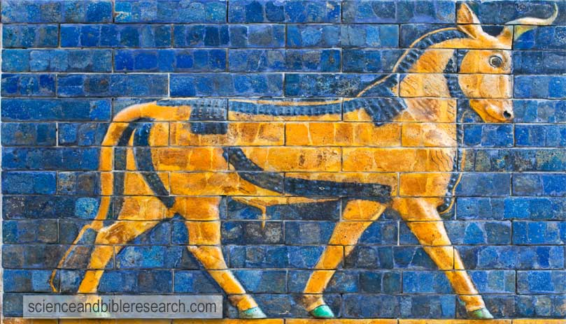 Golden Calf, ancient mosaic, Assyria (Photo by ggenova)