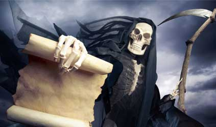 Grim reaper on a dark background (Photo by fergregory)