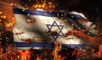Israel Burning Fire Flag War Conflict Night 3D (Photo by natanaelginting)