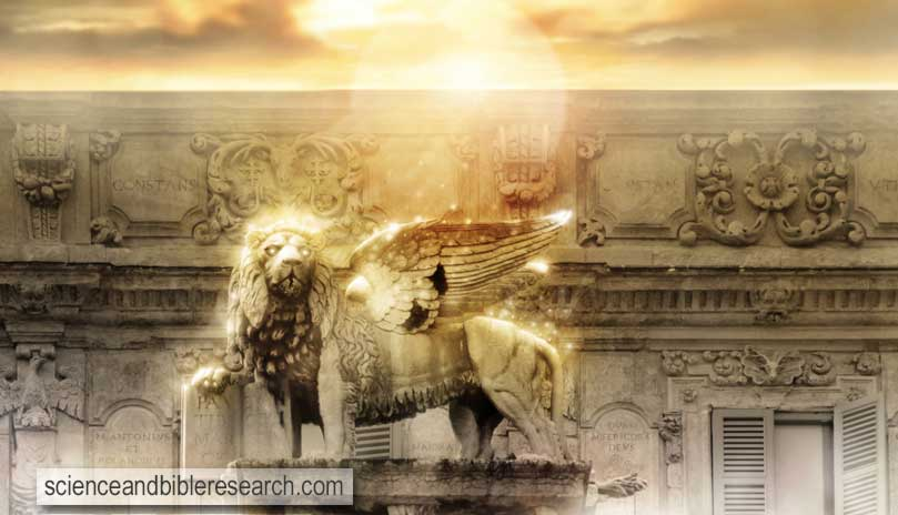 Fantastical glowing golden lion statue with wings in majestic heavenly setting (Photo by curaphotography)