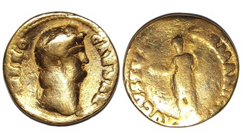 Rare Ancient Roman Coin, Gold, Sestertius, CAESAR NERO, circa 64 AD unearthed in a Roman-Era site in England (Photo by Hoberman Collection/UIG via Getty Images)