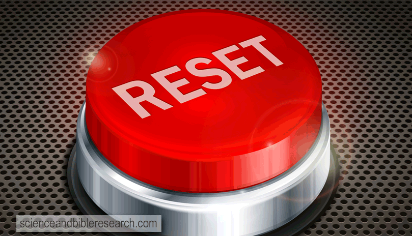 Red button with word reset on black background (Vector by creatOR76)