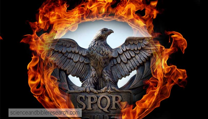 Scepter with an eagle and the letters SPQR (Senatus Populus Romanus). Icon government of ancient Rome (Photo by angellodeco)